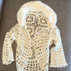 WHBMarket Crochet Shrug w/ Faux Fur Collar Sz XS